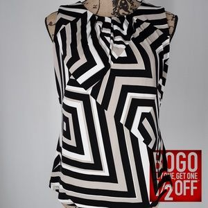 Calvin Klein | Stripe Sleeveless Blouse (Petite M)